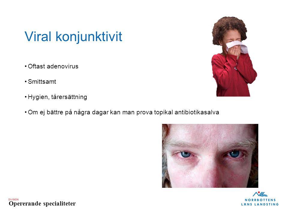 DIVISION Opererande specialiteter Viral konjunktivit Oftast adenovirus Smittsamt Hygien, tårersättning Om ej bättre på några dagar kan man prova topik