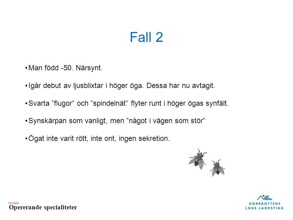 """DIVISION Opererande specialiteter Fall 2 Man född -50. Närsynt. Igår debut av ljusblixtar i höger öga. Dessa har nu avtagit. Svarta """"flugor"""" och """"spin"""