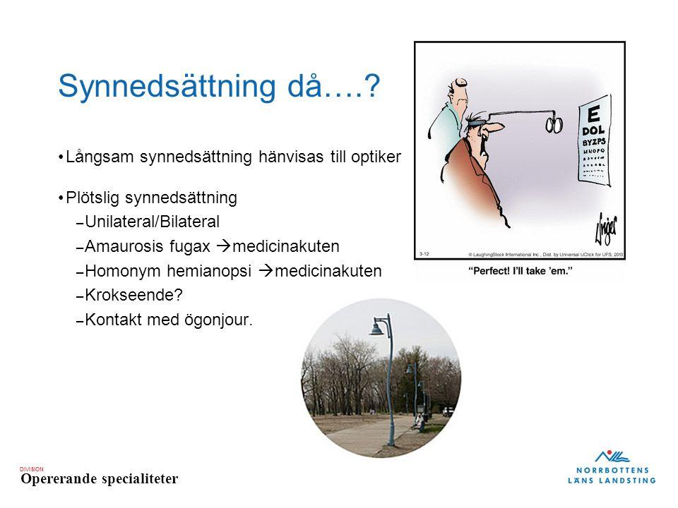 DIVISION Opererande specialiteter Synnedsättning då….? Långsam synnedsättning hänvisas till optiker Plötslig synnedsättning – Unilateral/Bilateral – A