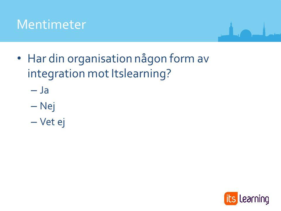 Har din organisation någon form av integration mot Itslearning – Ja – Nej – Vet ej Mentimeter