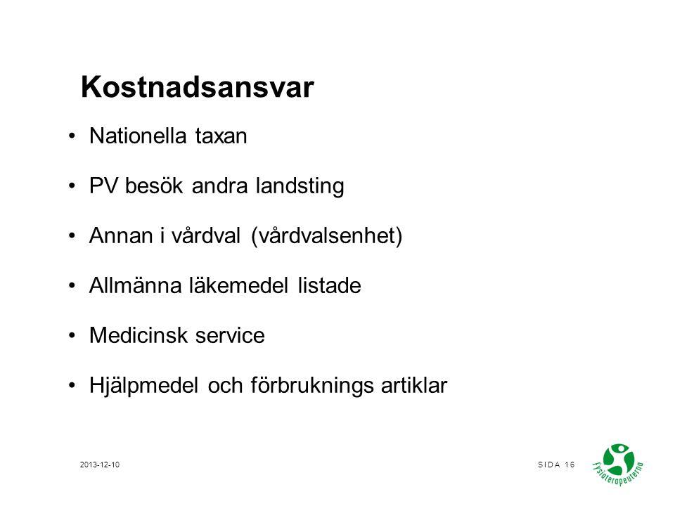 Kostnadsansvar Nationella taxan PV besök andra landsting Annan i vårdval (vårdvalsenhet) Allmänna läkemedel listade Medicinsk service Hjälpmedel och f