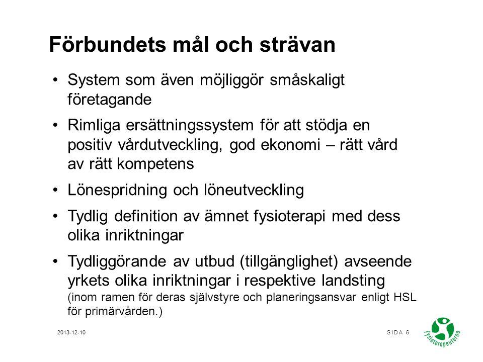 Ersättningssystemen i vårdval Vårdval rehab –Produktionsbaserade m tak –Tillägg för (i vissa regelverk): SAL Geografi Ålder 2013-12-10SIDA 17