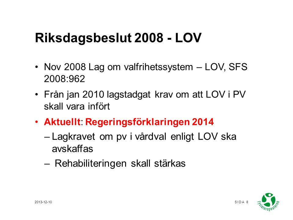 LOV – Affärsmässiga förhållanden Landstingens självbestämmande – olika i olika landsting –KOK –Ersättningsbilaga – Fri etablering Fysioterapeuterna - Ej någon partsställning - Vi har en påverkansroll MBL §§ 19 och 11 om konkurrensutsättning av verksamhet 2013-12-10SIDA 9