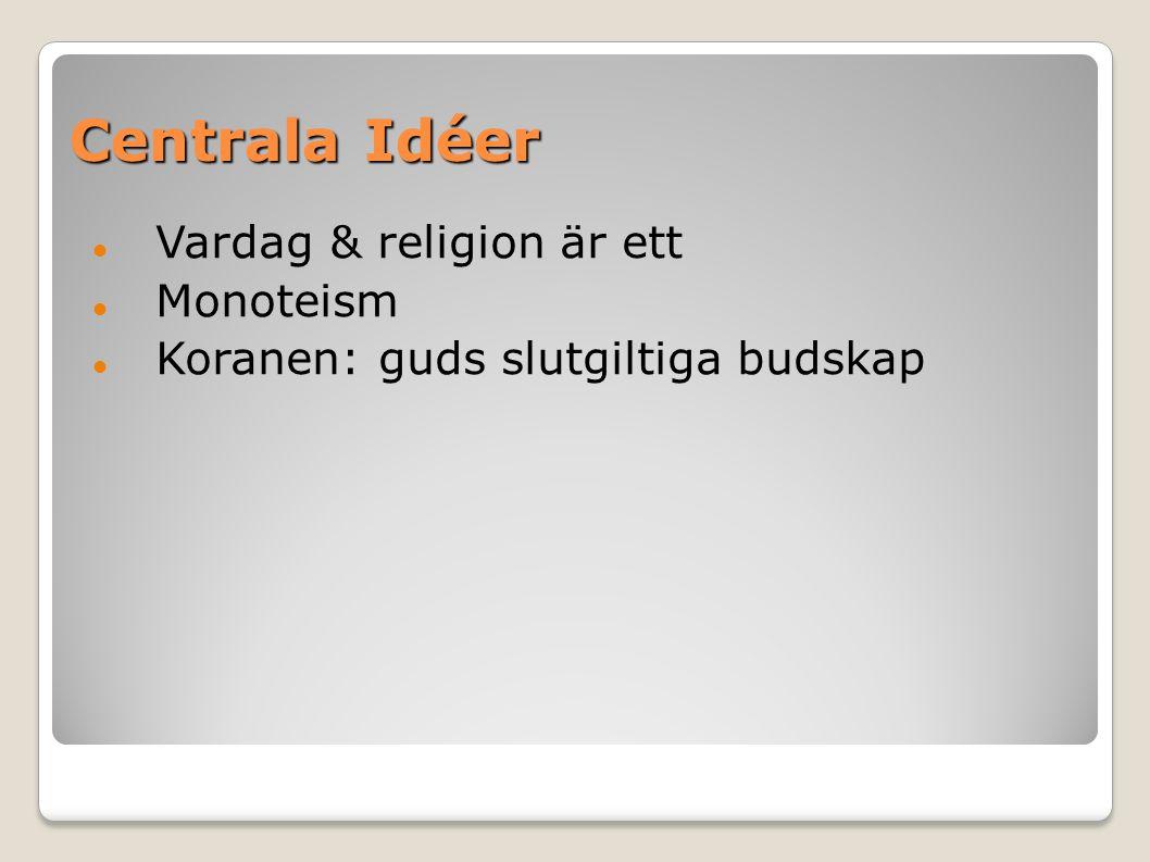 Centrala Idéer Vardag & religion är ett Monoteism Koranen: guds slutgiltiga budskap