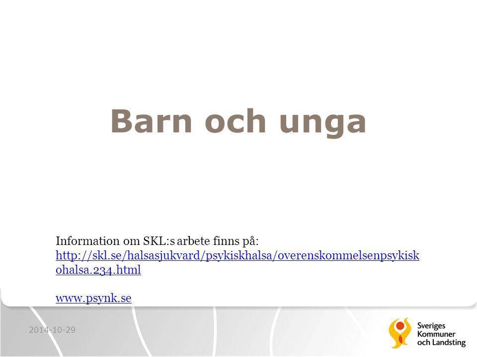 Barn och unga 2014-10-29 Information om SKL:s arbete finns på: http://skl.se/halsasjukvard/psykiskhalsa/overenskommelsenpsykisk ohalsa.234.html www.psynk.se
