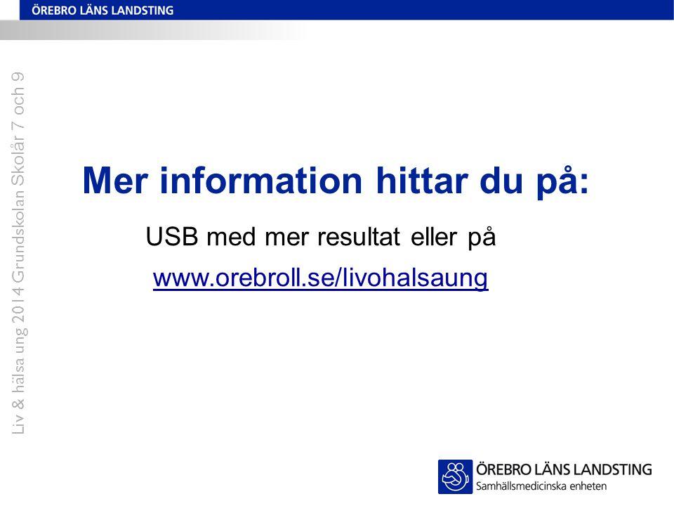 Mer information hittar du på: USB med mer resultat eller på www.orebroll.se/livohalsaung Liv & hälsa ung 2014 Grundskolan Skolår 7 och 9
