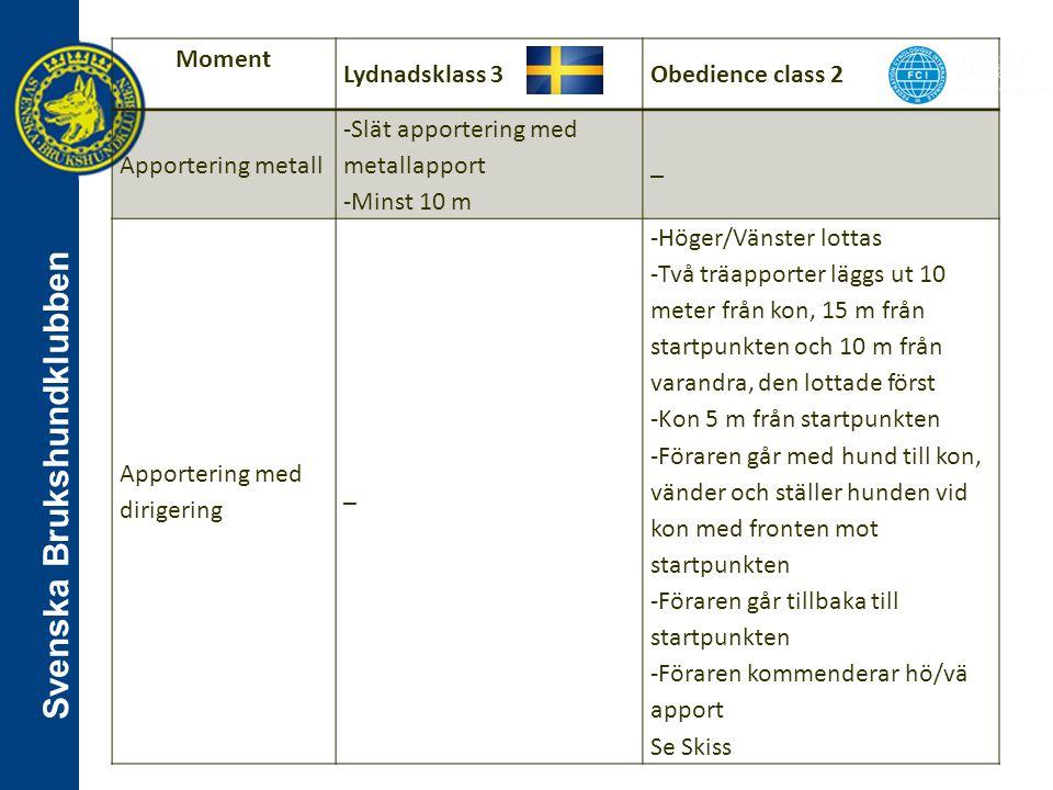 Svenska Brukshundklubben Moment Lydnadsklass 3Obedience class 2 Apportering metall -Slät apportering med metallapport -Minst 10 m _ Apportering med di