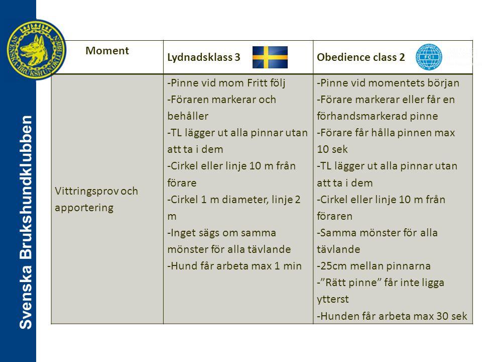 Svenska Brukshundklubben Moment Lydnadsklass 3Obedience class 2 Vittringsprov och apportering -Pinne vid mom Fritt följ -Föraren markerar och behåller