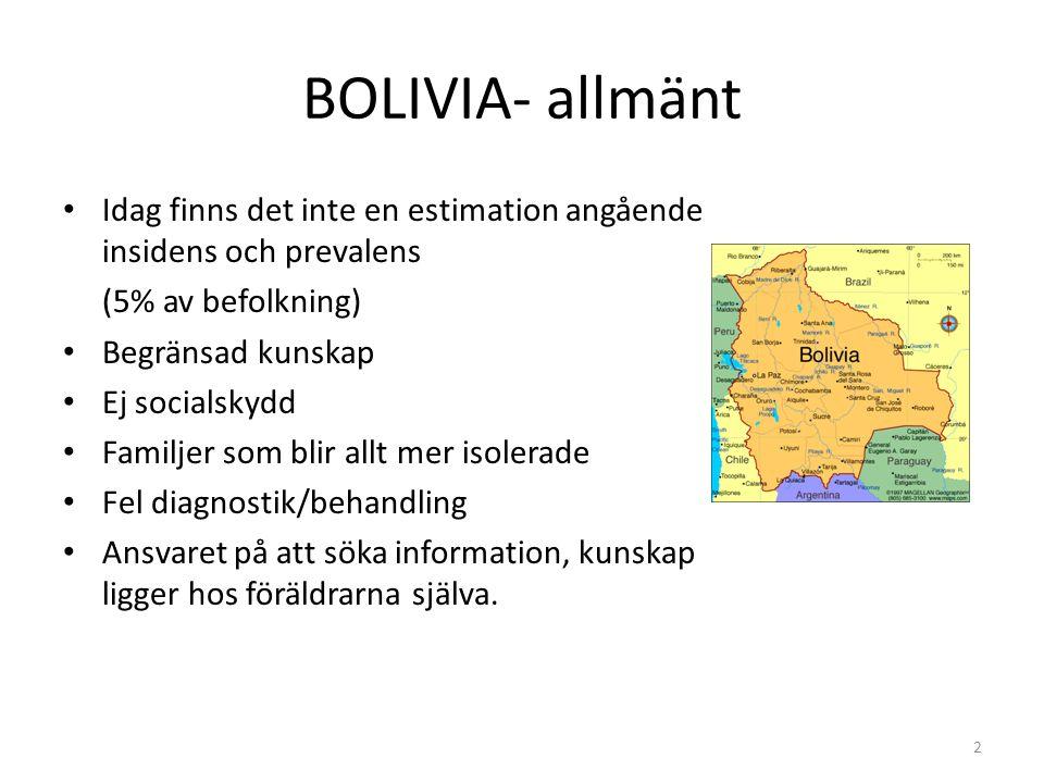 BOLIVIA- allmänt Idag finns det inte en estimation angående insidens och prevalens (5% av befolkning) Begränsad kunskap Ej socialskydd Familjer som bl