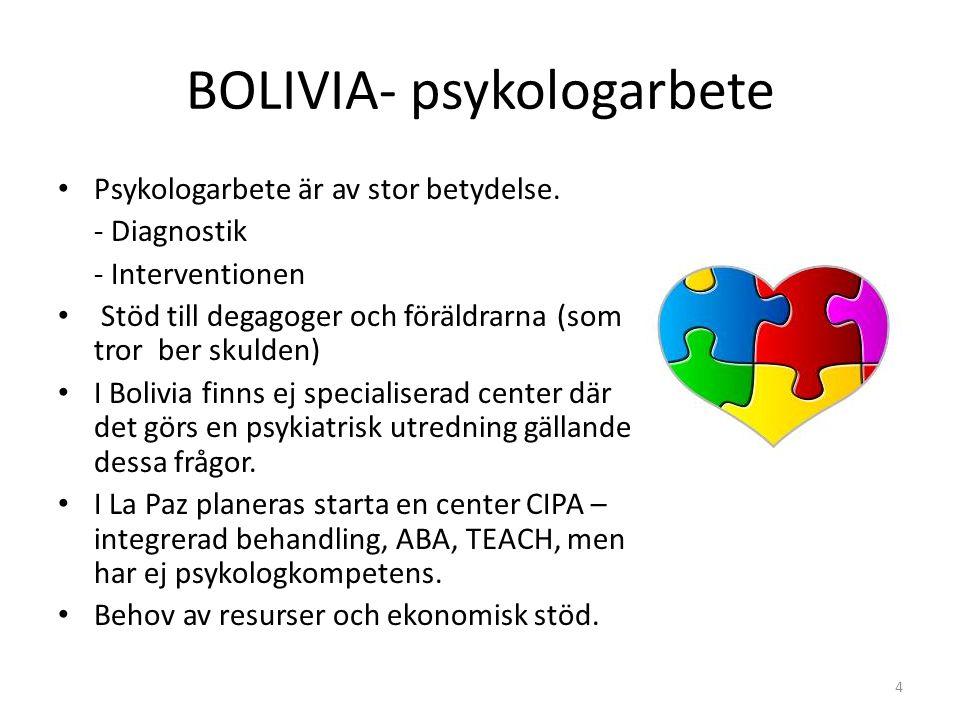 BOLIVIA- psykologarbete Psykologarbete är av stor betydelse. - Diagnostik - Interventionen Stöd till degagoger och föräldrarna (som tror ber skulden)