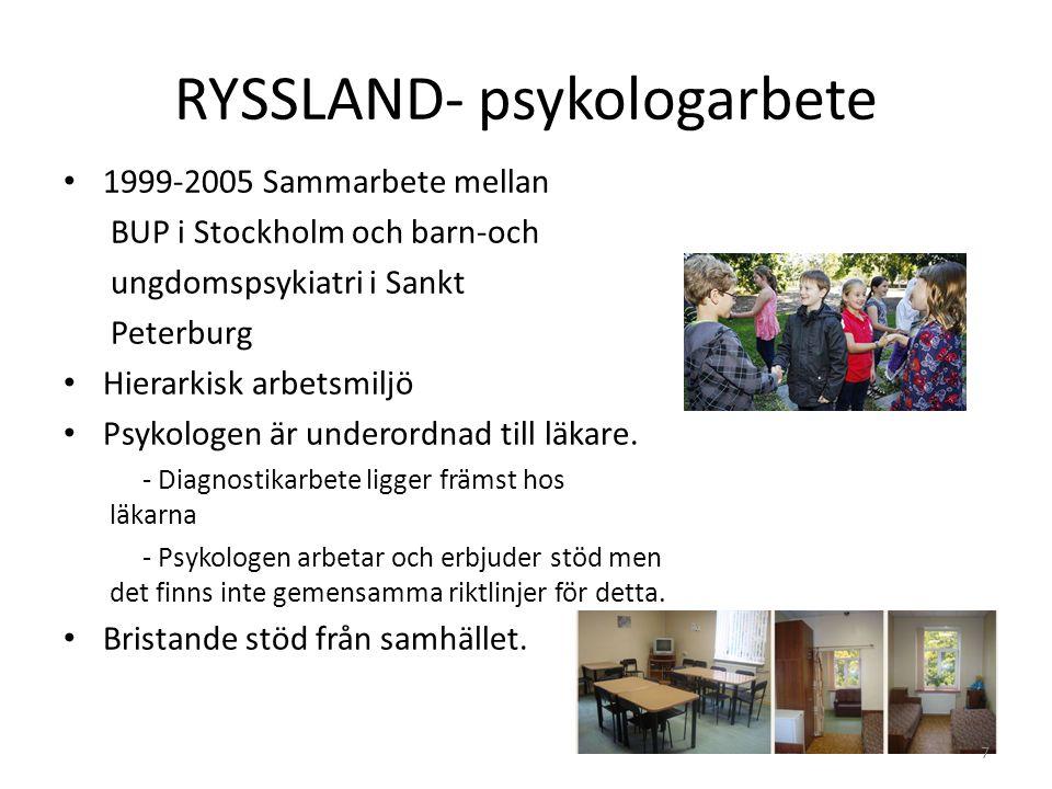 RYSSLAND- psykologarbete 1999-2005 Sammarbete mellan BUP i Stockholm och barn-och ungdomspsykiatri i Sankt Peterburg Hierarkisk arbetsmiljö Psykologen