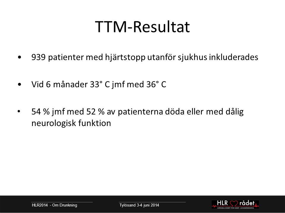 TTM-Resultat HLR2014 - Om Drunkning Tylösand 3-4 juni 2014 939 patienter med hjärtstopp utanför sjukhus inkluderades Vid 6 månader 33° C jmf med 36° C 54 % jmf med 52 % av patienterna döda eller med dålig neurologisk funktion