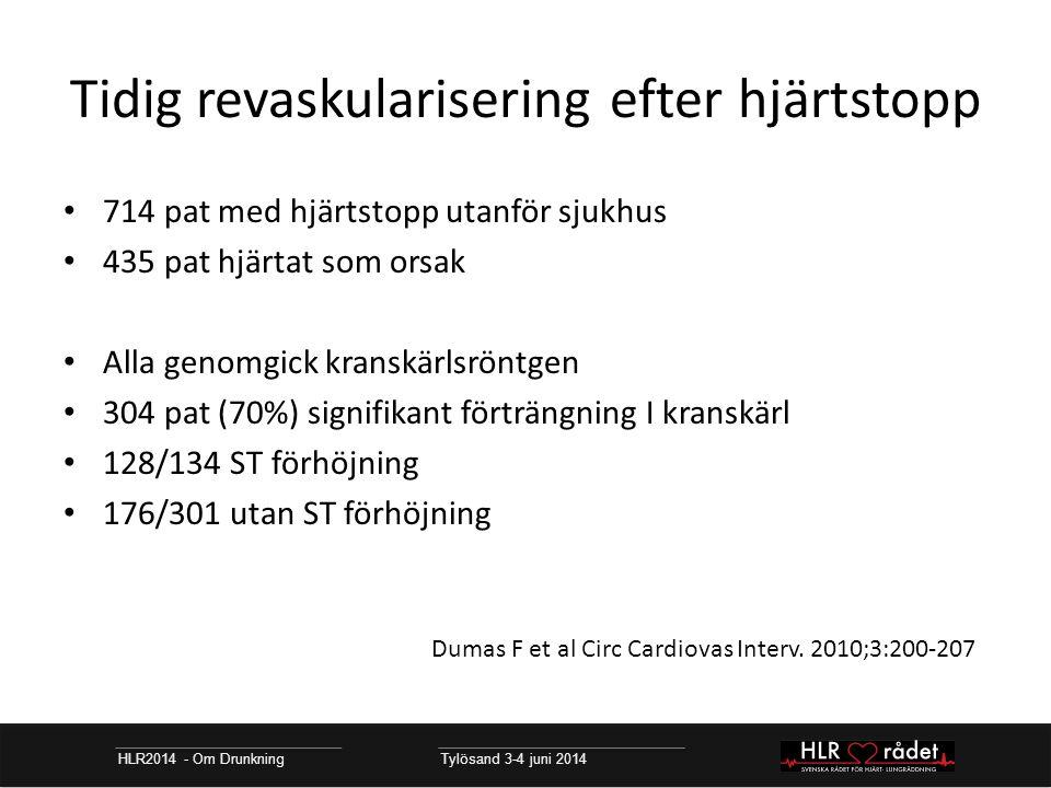 Tidig revaskularisering efter hjärtstopp HLR2014 - Om Drunkning Tylösand 3-4 juni 2014 714 pat med hjärtstopp utanför sjukhus 435 pat hjärtat som orsak Alla genomgick kranskärlsröntgen 304 pat (70%) signifikant förträngning I kranskärl 128/134 ST förhöjning 176/301 utan ST förhöjning Dumas F et al Circ Cardiovas Interv.