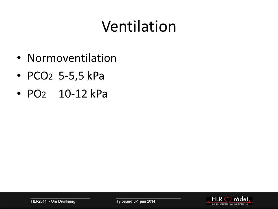 Ventilation HLR2014 - Om Drunkning Tylösand 3-4 juni 2014 Normoventilation PCO 2 5-5,5 kPa PO 2 10-12 kPa