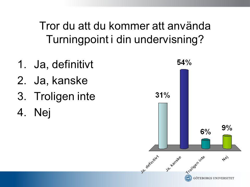 Tror du att du kommer att använda Turningpoint i din undervisning? 1.Ja, definitivt 2.Ja, kanske 3.Troligen inte 4.Nej