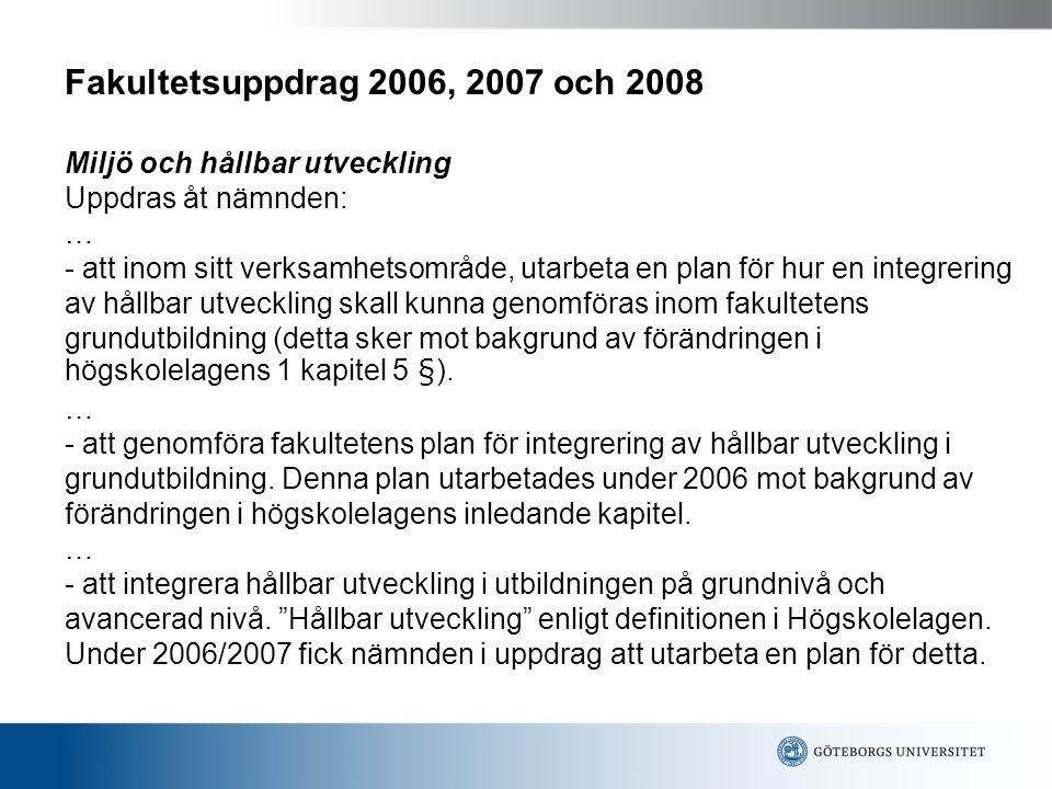 Fakultetsuppdrag 2006, 2007 och 2008 Miljö och hållbar utveckling Uppdras åt nämnden: … - att inom sitt verksamhetsområde, utarbeta en plan för hur en