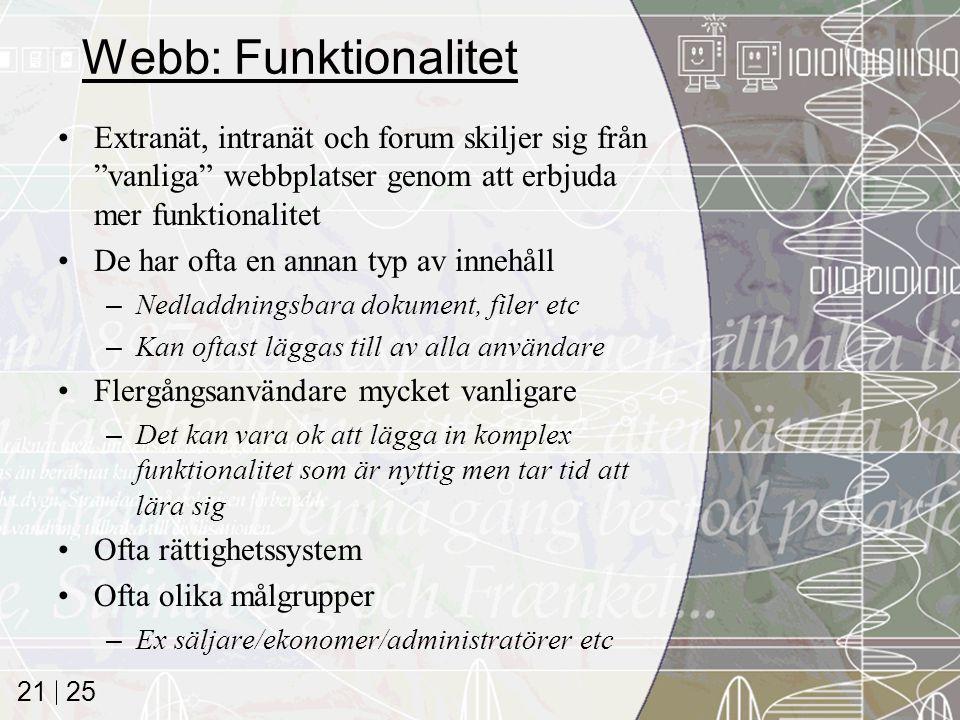 """25 21 Webb: Funktionalitet Extranät, intranät och forum skiljer sig från """"vanliga"""" webbplatser genom att erbjuda mer funktionalitet De har ofta en ann"""