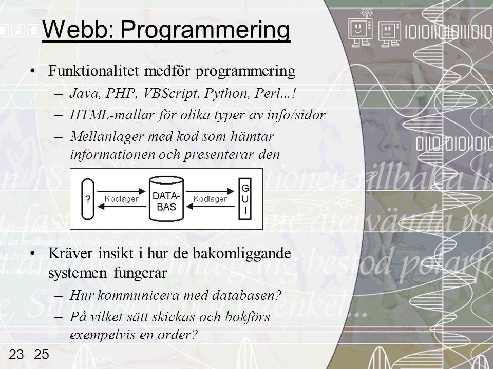 25 23 Webb: Programmering Funktionalitet medför programmering –Java, PHP, VBScript, Python, Perl...! –HTML-mallar för olika typer av info/sidor –Mella
