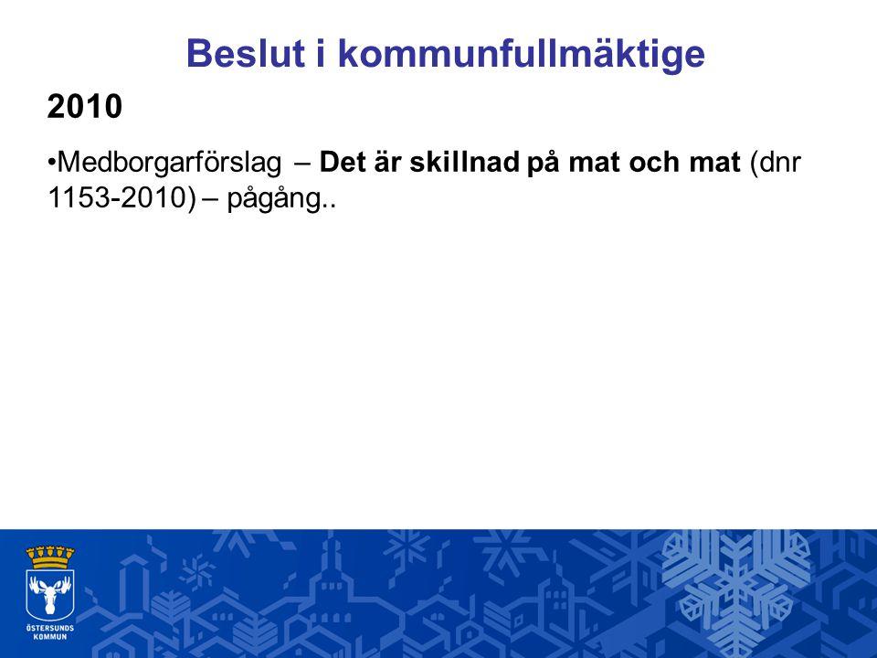 Beslut i kommunfullmäktige 2010 Medborgarförslag – Det är skillnad på mat och mat (dnr 1153-2010) – pågång..