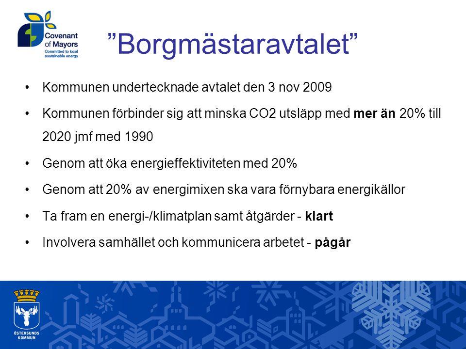 Borgmästaravtalet Kommunen undertecknade avtalet den 3 nov 2009 Kommunen förbinder sig att minska CO2 utsläpp med mer än 20% till 2020 jmf med 1990 Genom att öka energieffektiviteten med 20% Genom att 20% av energimixen ska vara förnybara energikällor Ta fram en energi-/klimatplan samt åtgärder - klart Involvera samhället och kommunicera arbetet - pågår