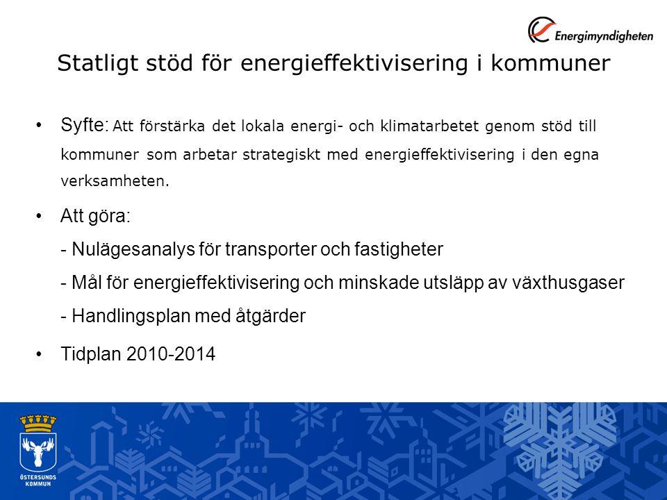 Syfte: Att förstärka det lokala energi- och klimatarbetet genom stöd till kommuner som arbetar strategiskt med energieffektivisering i den egna verksamheten.