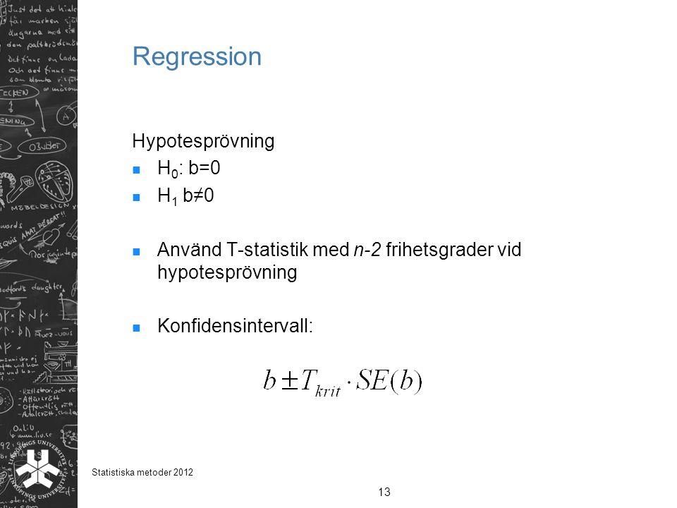 Regression Hypotesprövning H 0 : b=0 H 1 b≠0 Använd T-statistik med n-2 frihetsgrader vid hypotesprövning Konfidensintervall: 13 Statistiska metoder 2