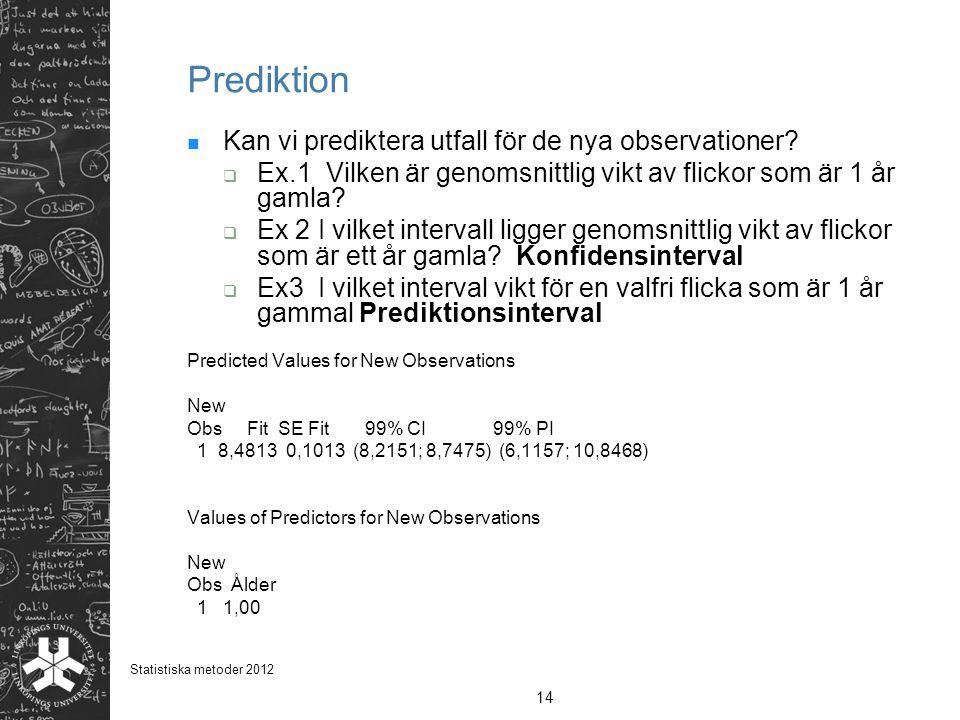 Prediktion Kan vi prediktera utfall för de nya observationer?  Ex.1 Vilken är genomsnittlig vikt av flickor som är 1 år gamla?  Ex 2 I vilket interv