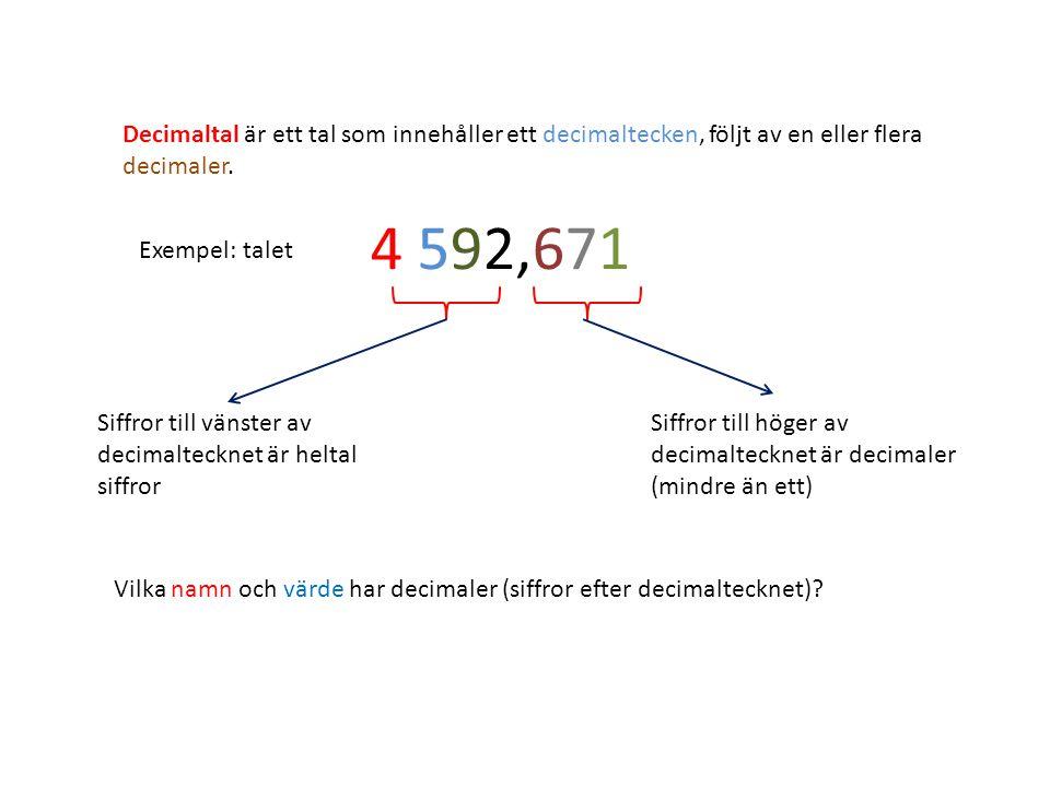 Decimaltal är ett tal som innehåller ett decimaltecken, följt av en eller flera decimaler. Exempel: talet 4 592,671 Siffror till vänster av decimaltec