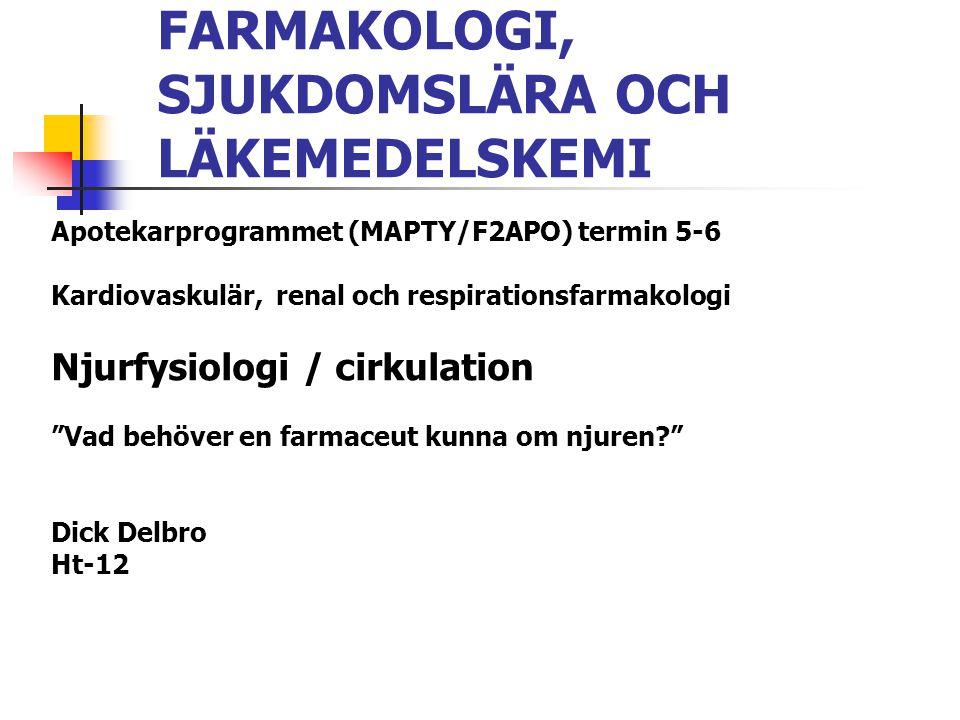 FARMAKOLOGI, SJUKDOMSLÄRA OCH LÄKEMEDELSKEMI Apotekarprogrammet (MAPTY/F2APO) termin 5-6 Kardiovaskulär, renal och respirationsfarmakologi Njurfysiolo