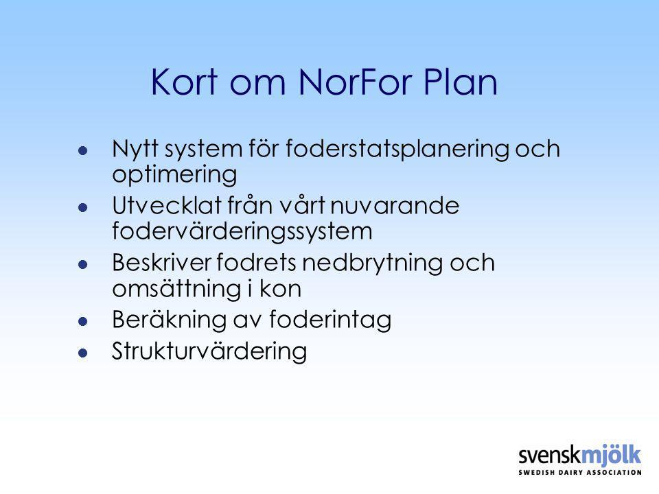 Kort om NorFor Plan Nytt system för foderstatsplanering och optimering Utvecklat från vårt nuvarande fodervärderingssystem Beskriver fodrets nedbrytning och omsättning i kon Beräkning av foderintag Strukturvärdering