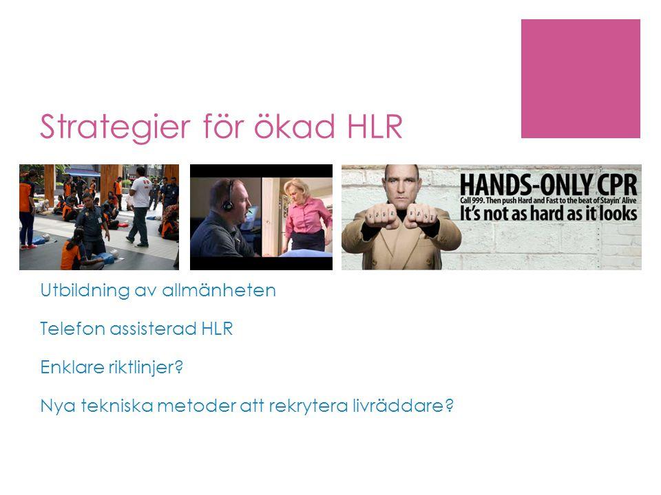 Strategier för ökad HLR Utbildning av allmänheten Telefon assisterad HLR Enklare riktlinjer.