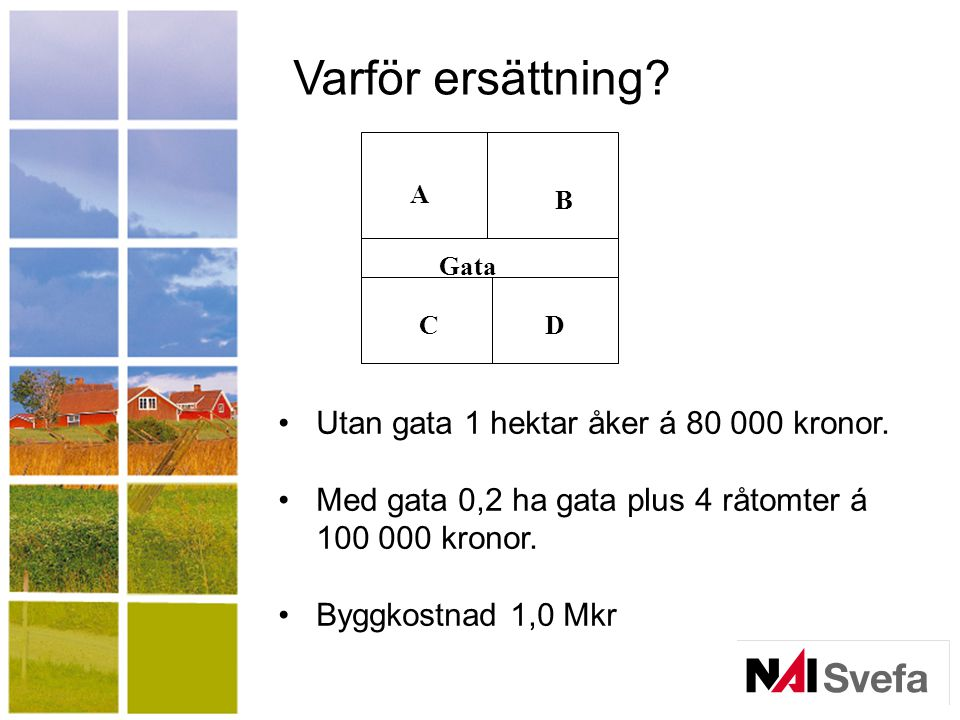 Varför ersättning.Utan gata 1 hektar åker á 80 000 kronor.