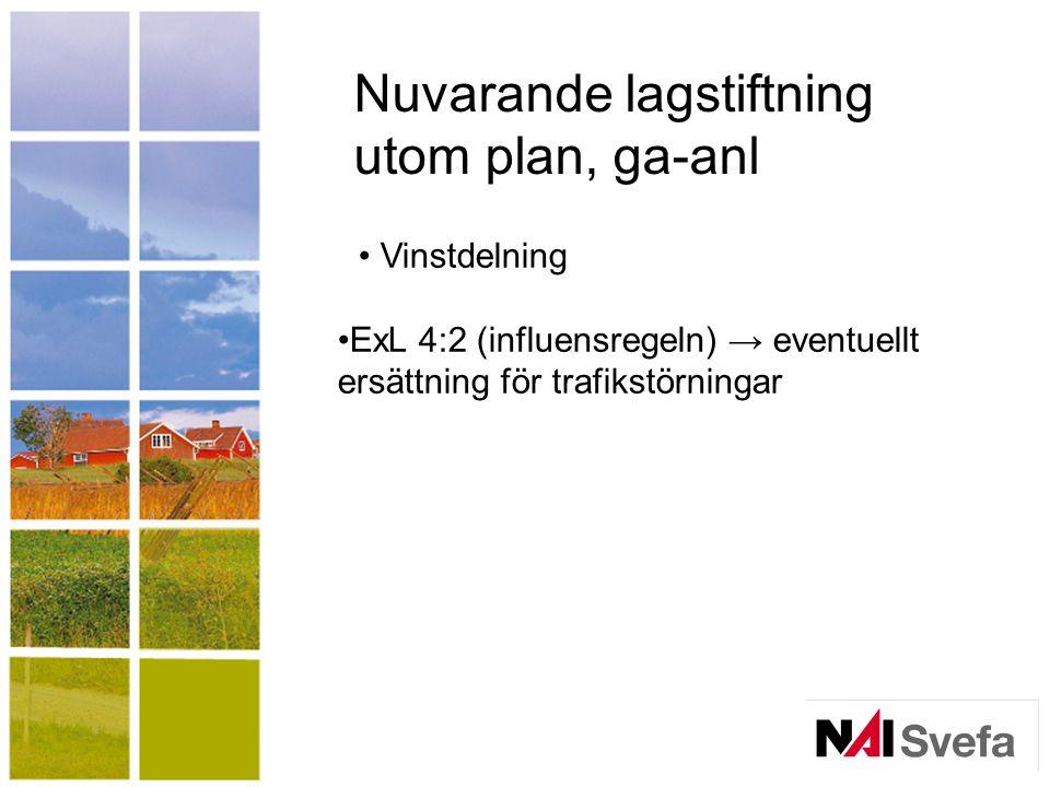 Nuvarande lagstiftning utom plan, ga-anl Vinstdelning ExL 4:2 (influensregeln) → eventuellt ersättning för trafikstörningar