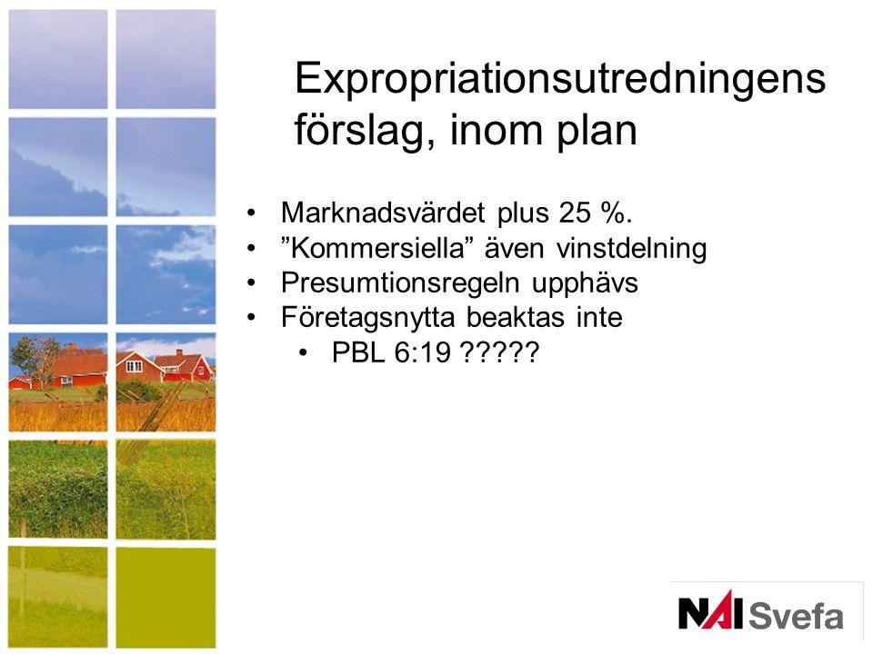 Expropriationsutredningens förslag, inom plan Marknadsvärdet plus 25 %.