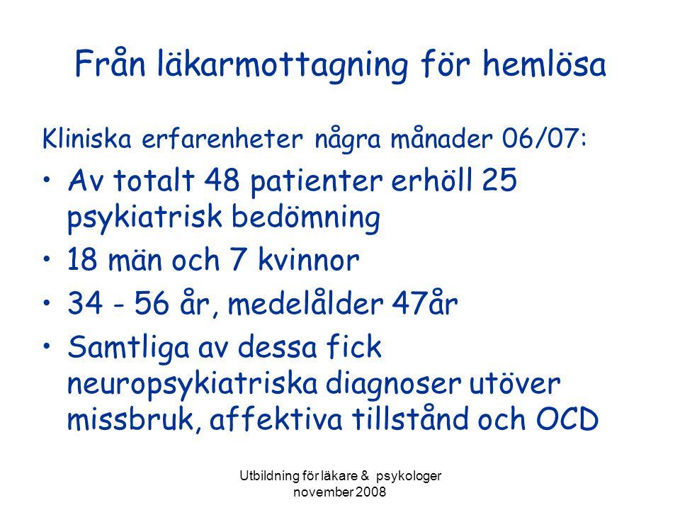 Utbildning för läkare & psykologer november 2008 Från läkarmottagning för hemlösa Kliniska erfarenheter några månader 06/07: Av totalt 48 patienter er