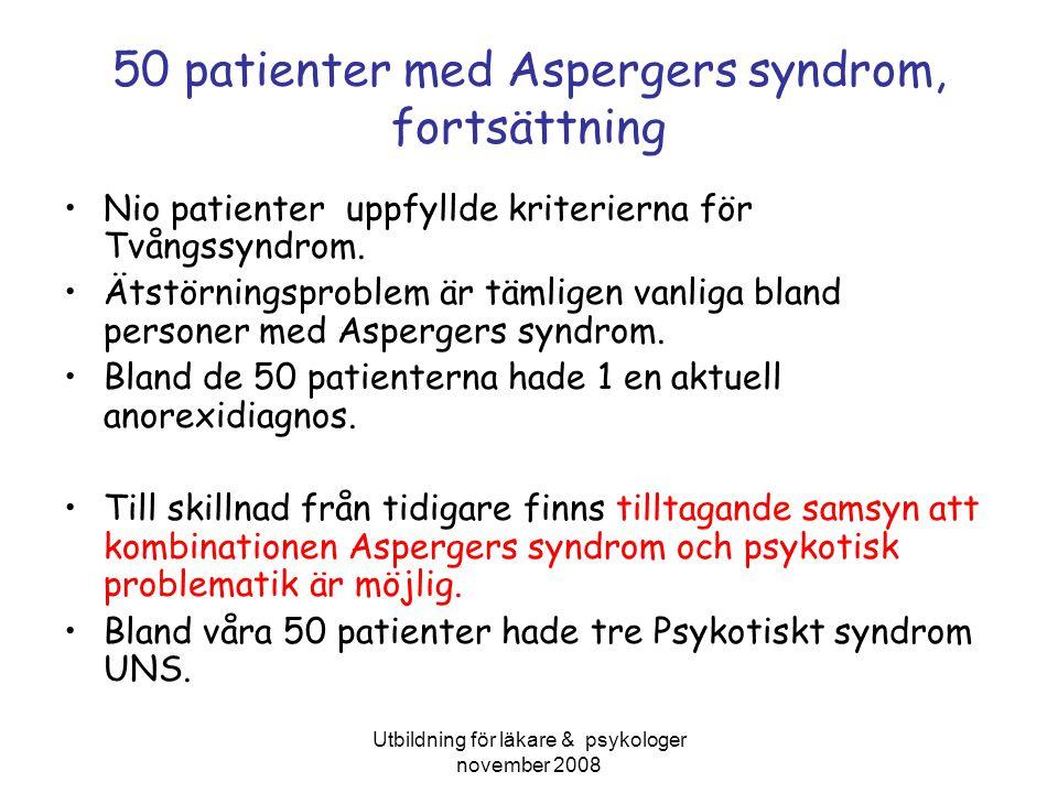 Utbildning för läkare & psykologer november 2008 50 patienter med Aspergers syndrom, fortsättning Nio patienter uppfyllde kriterierna för Tvångssyndro