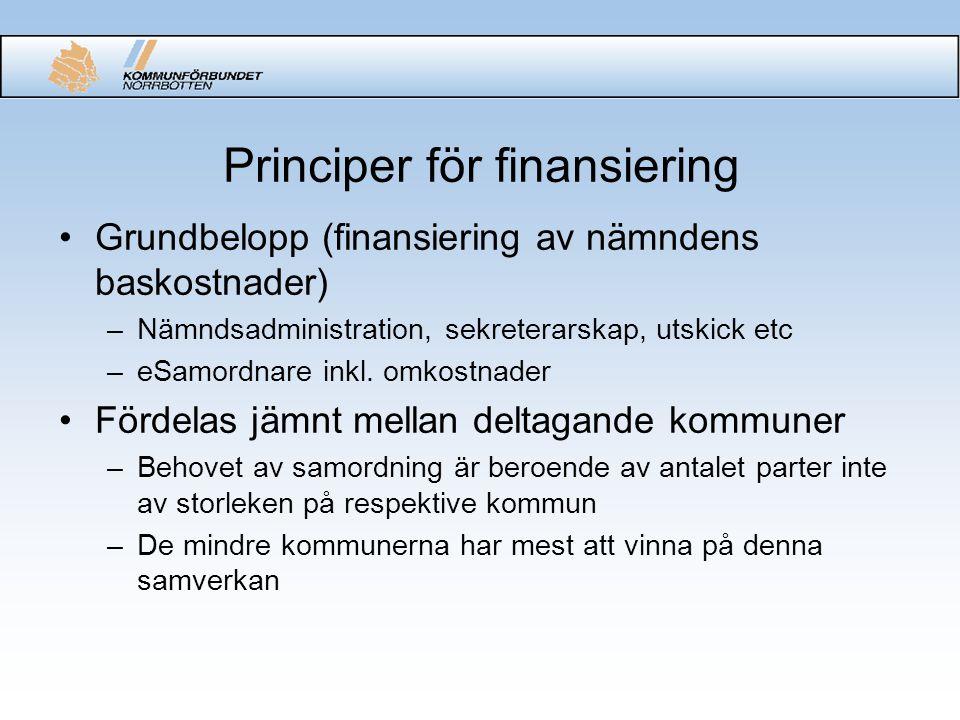 Principer för finansiering Grundbelopp (finansiering av nämndens baskostnader) –Nämndsadministration, sekreterarskap, utskick etc –eSamordnare inkl. o