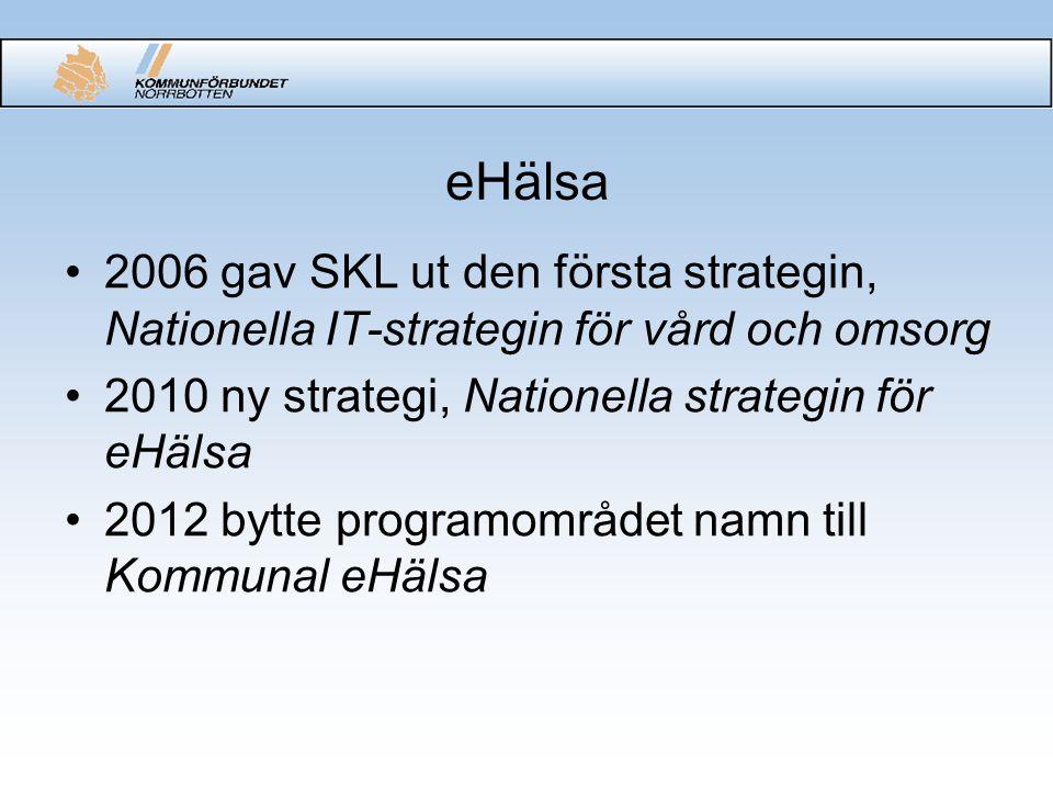 eHälsa 2006 gav SKL ut den första strategin, Nationella IT-strategin för vård och omsorg 2010 ny strategi, Nationella strategin för eHälsa 2012 bytte