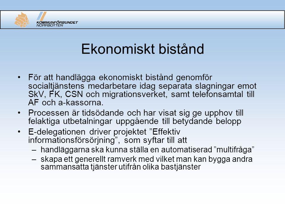 Ekonomiskt bistånd För att handlägga ekonomiskt bistånd genomför socialtjänstens medarbetare idag separata slagningar emot SkV, FK, CSN och migrations