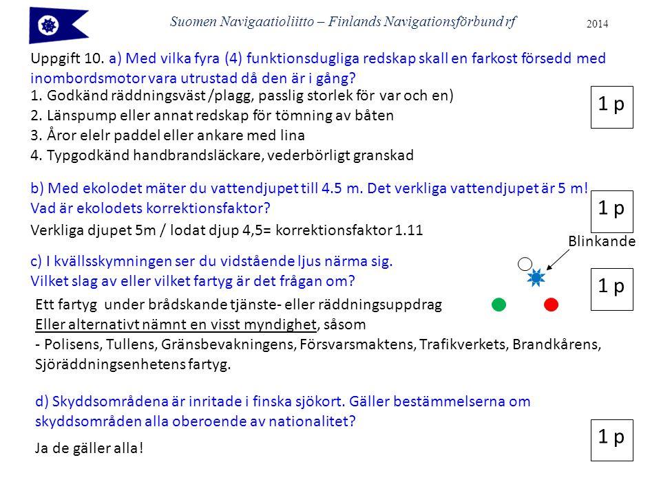 Suomen Navigaatioliitto – Finlands Navigationsförbund rf 2014 Uppgift 10. a) Med vilka fyra (4) funktionsdugliga redskap skall en farkost försedd med