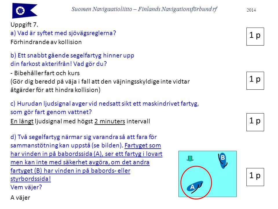 Suomen Navigaatioliitto – Finlands Navigationsförbund rf 2014 Uppgift 7. a) Vad är syftet med sjövägsreglerna? Förhindrande av kollision 1 p b) Ett sn
