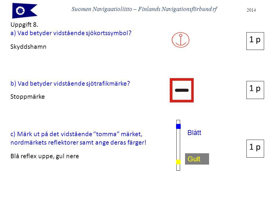 Suomen Navigaatioliitto – Finlands Navigationsförbund rf 2014 Uppgift 8. a) Vad betyder vidstående sjökortssymbol? Skyddshamn b) Vad betyder vidståend
