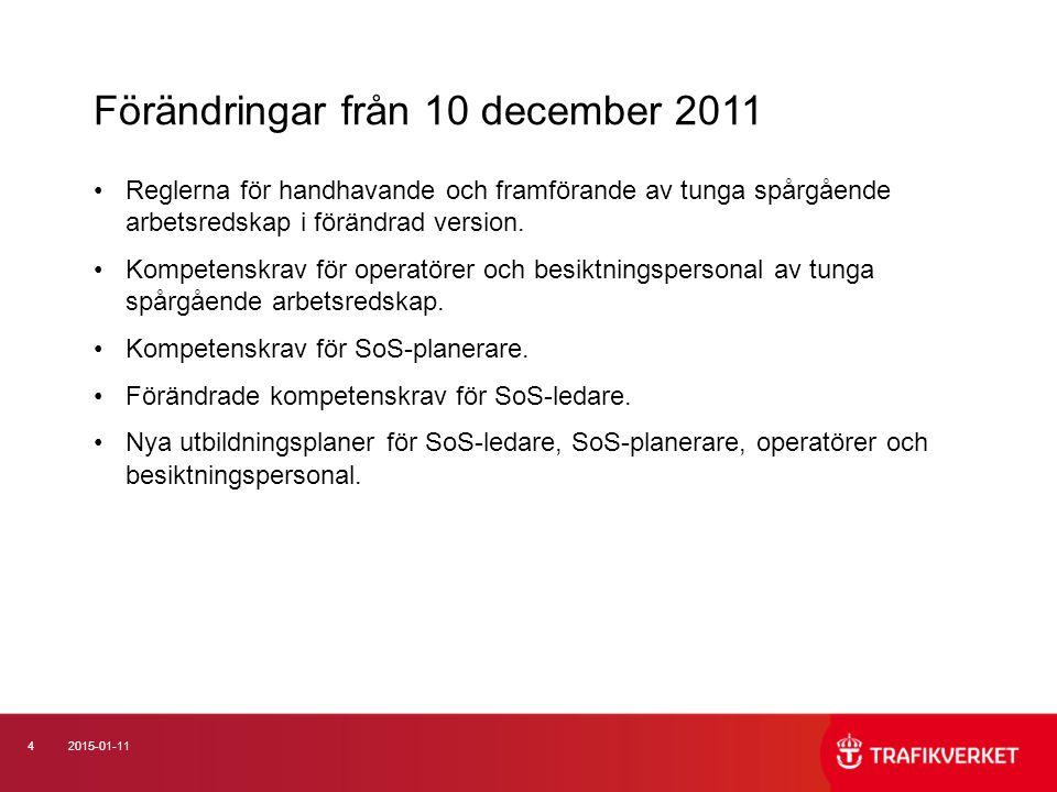 42015-01-11 Reglerna för handhavande och framförande av tunga spårgående arbetsredskap i förändrad version.