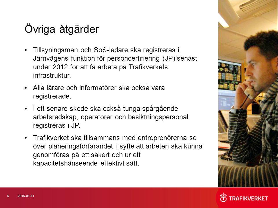 52015-01-11 Tillsyningsmän och SoS-ledare ska registreras i Järnvägens funktion för personcertifiering (JP) senast under 2012 för att få arbeta på Trafikverkets infrastruktur.