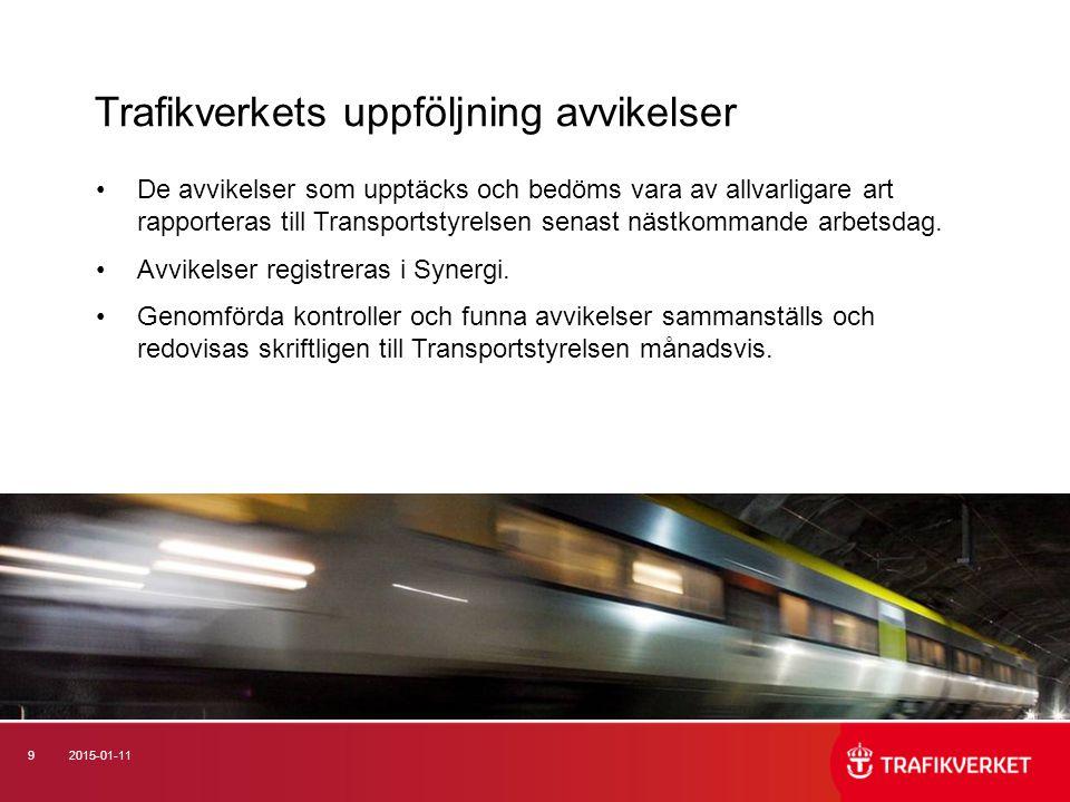 92015-01-11 De avvikelser som upptäcks och bedöms vara av allvarligare art rapporteras till Transportstyrelsen senast nästkommande arbetsdag.