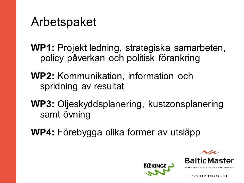 w w w. b a l t i c m a s t e r. o r g Arbetspaket WP1: Projekt ledning, strategiska samarbeten, policy påverkan och politisk förankring WP2: Kommunika