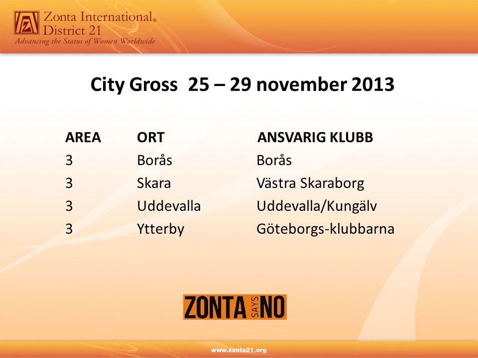 City Gross 25 – 29 november 2013 AREA ORT ANSVARIG KLUBB 3BoråsBorås 3SkaraVästra Skaraborg 3UddevallaUddevalla/Kungälv 3YtterbyGöteborgs-klubbarna