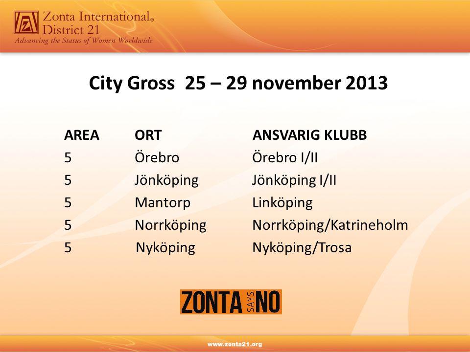 City Gross 25 – 29 november 2013 AREA ORT ANSVARIG KLUBB 5ÖrebroÖrebro I/II 5JönköpingJönköping I/II 5MantorpLinköping 5NorrköpingNorrköping/Katrineholm 5 NyköpingNyköping/Trosa