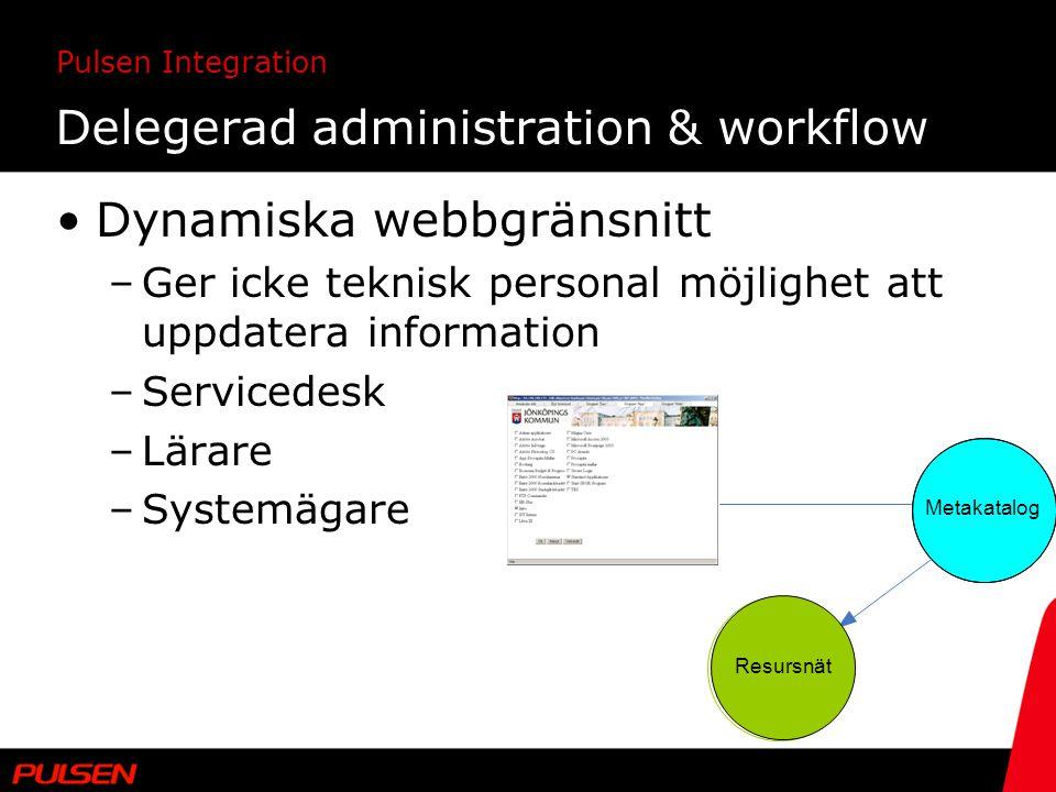 Pulsen Integration Delegerad administration & workflow Dynamiska webbgränsnitt –Ger icke teknisk personal möjlighet att uppdatera information –Service