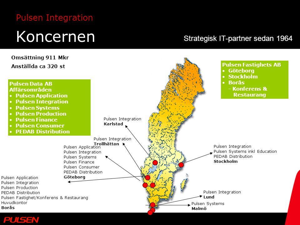 Pulsen Integration Koncernen Pulsen Integration Pulsen Systems inkl Education PEDAB Distribution Stockholm Pulsen Integration Karlstad Pulsen Integrat